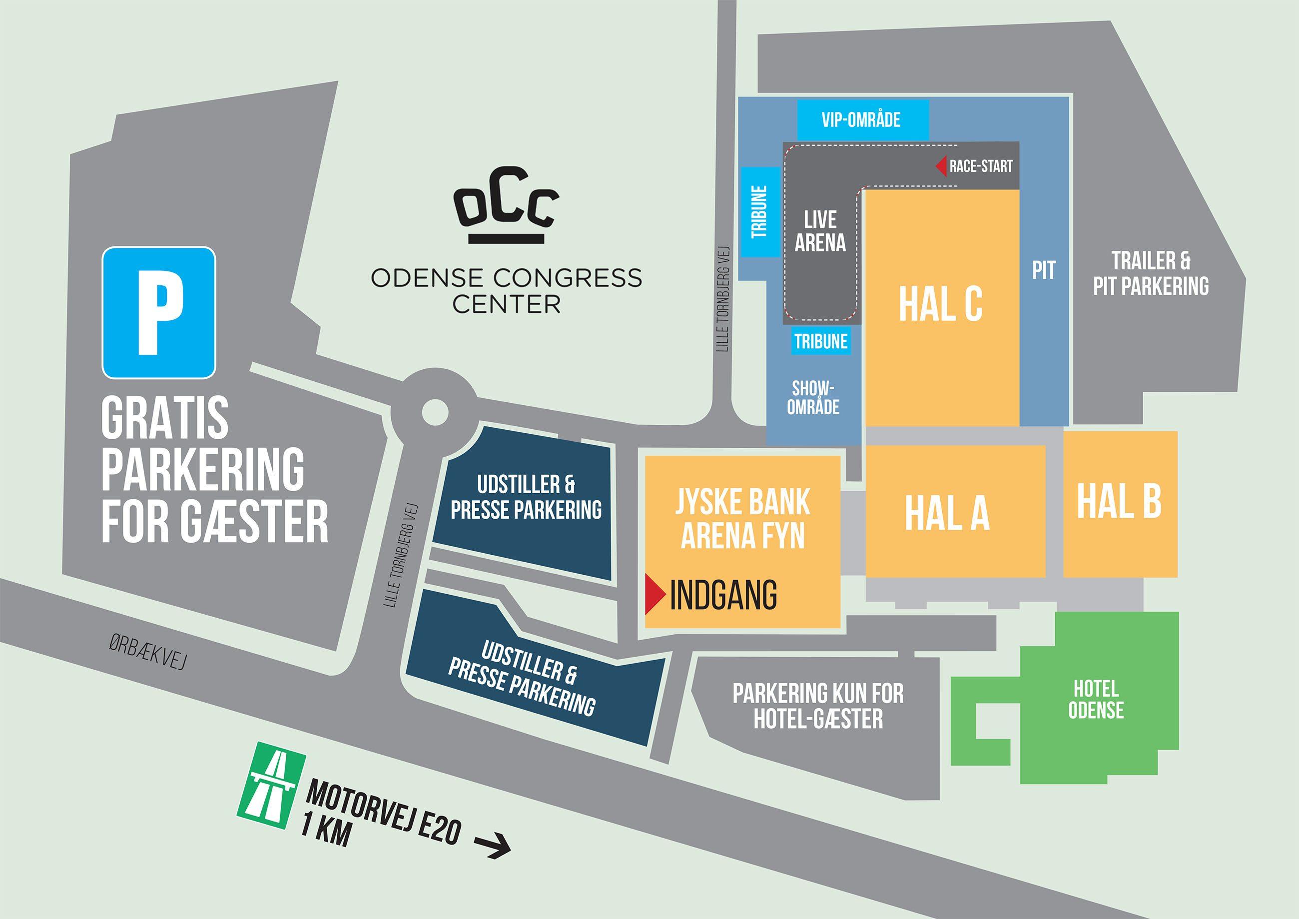 Kort over Auto Show 2019 i Odense Congress Center