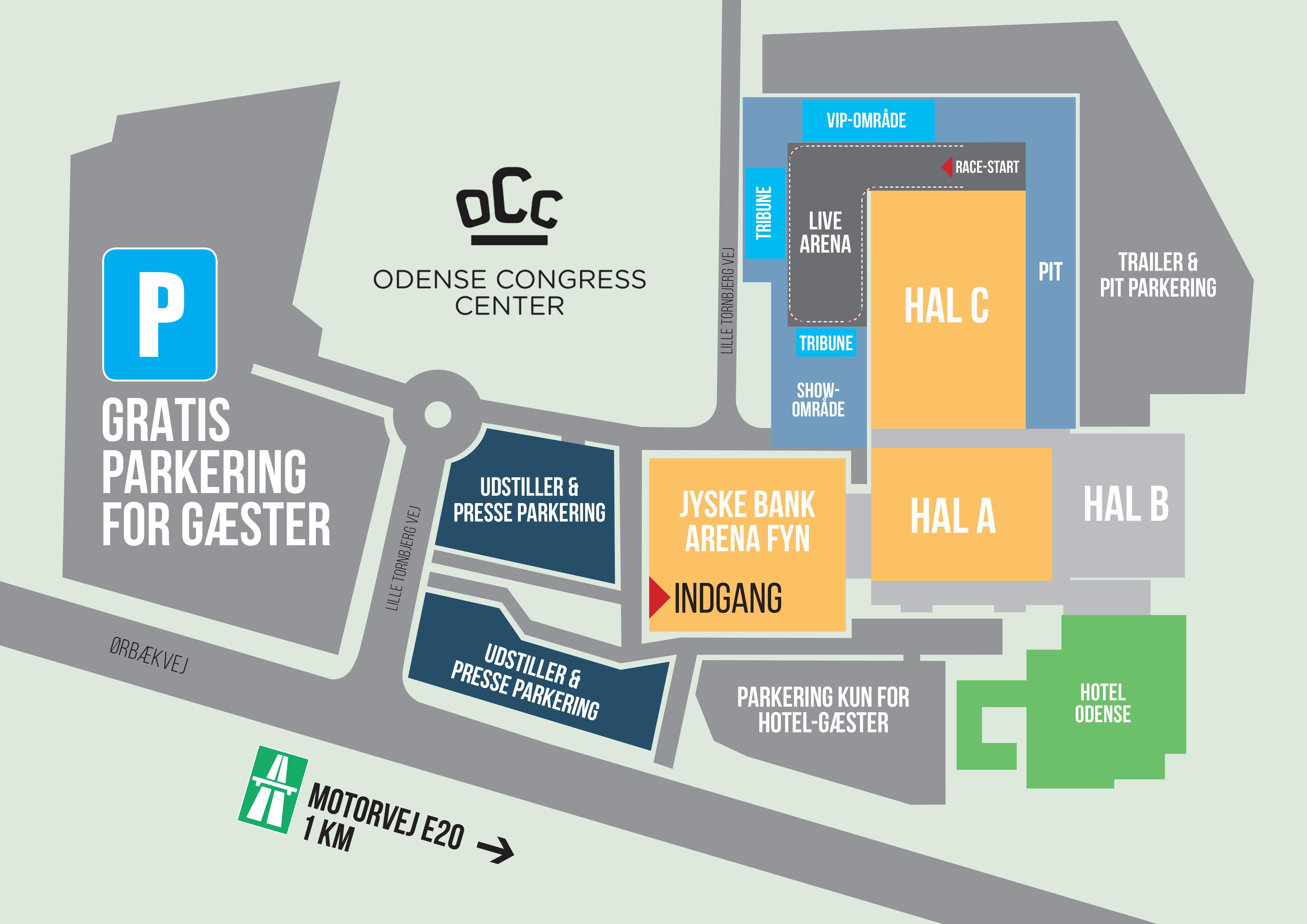 Kort over Auto Show Denmark i Odense Congress Center